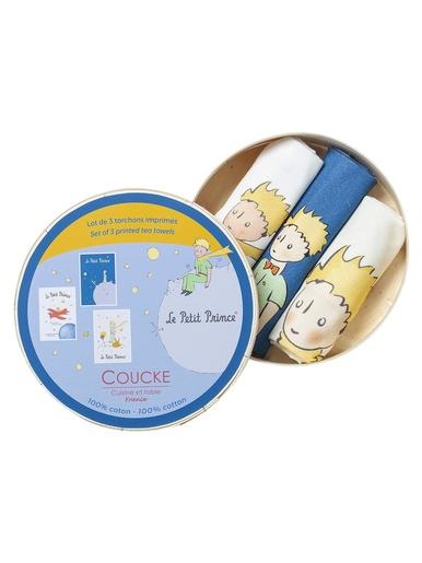 Lot de 3 torchons petit prince - Coucke - Imp. bleu+imp.beige+imp.jaune