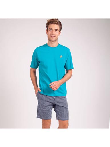 Pyjama court col rond homme Coton Bio - Eminence - Vert-marinière
