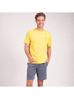 Pyjama court col rond homme Coton Bio