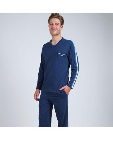 Pyjama long col V homme Bio