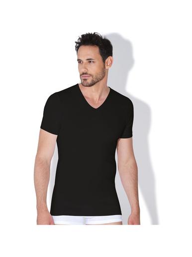 Tee-shirt col V homme Coton Bio - Eminence - Noir