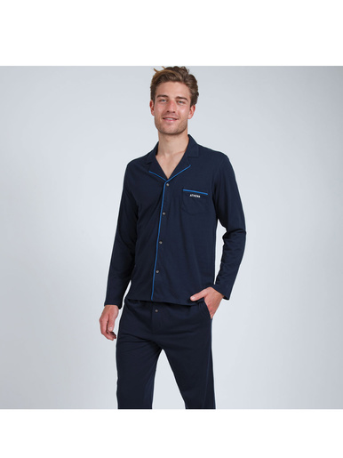 Pyjama long ouvert homme Easy Style - Athéna - Marine