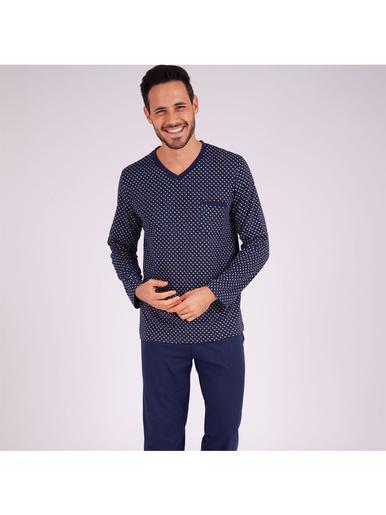 Pyjama long col V homme Héritage - Eminence - Bleu