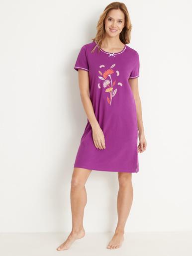 Lot de 2 chemises de nuit courtes bio - Balsamik - Prune + imprimé prune