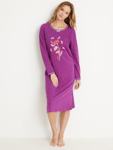 Lot de 2 chemises de nuit longues bio - Balsamik - Prune + imprimé prune