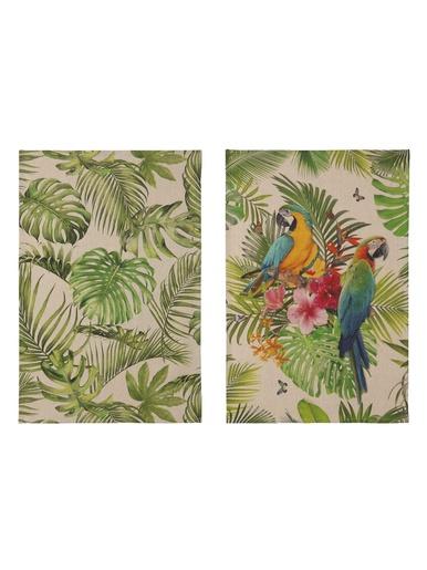 Lot de 2 torchons jungle et tropical - Coucke - Imp.vert
