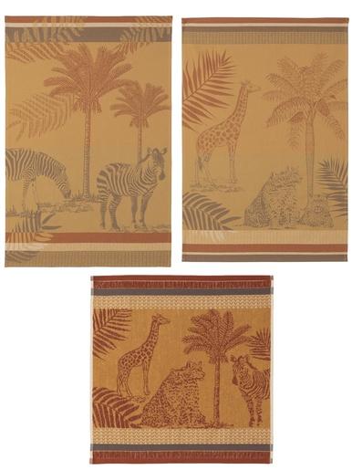 Lots de trochons guépard et zèbre - Coucke - Imprimé camel