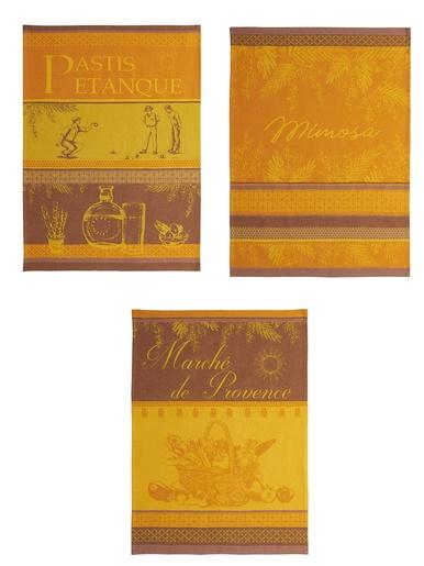 Lot de 3 torchons provençaux - Coucke - Imprimé orange