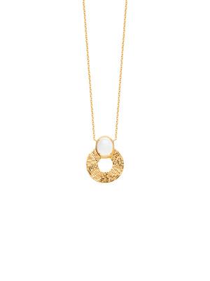 Collier chaîne pierre de lune plaqué or