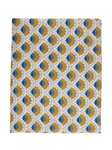 Drap plat ARTY - Origin - Bleu / jaune moutarde