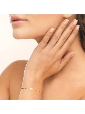 Bracelet plaqué or quartz rose