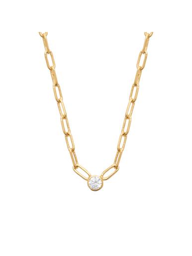 Collier plaqué or et zirconia blanc - Maison de la bijouterie - Plaqué or