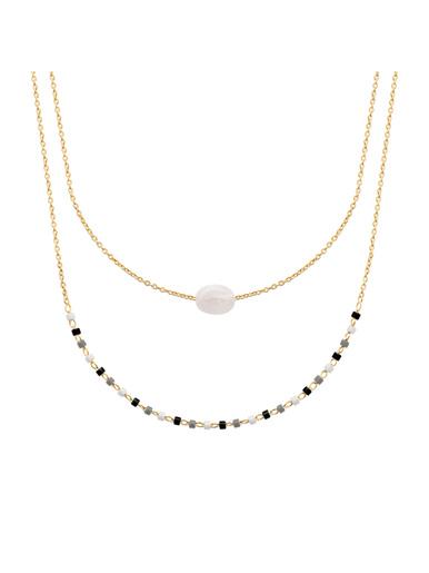 Collier plaqué or pierre de lune - Maison de la bijouterie - Plaqué or