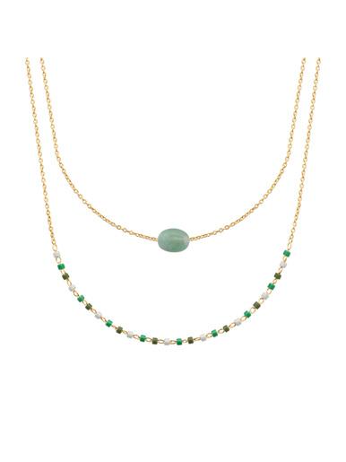 Collier plaqué or quartzite vert - Maison de la bijouterie - Plaqué or