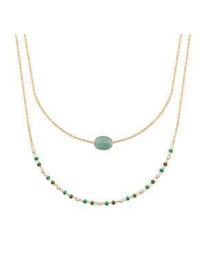 Collier plaqué or quartzite vert