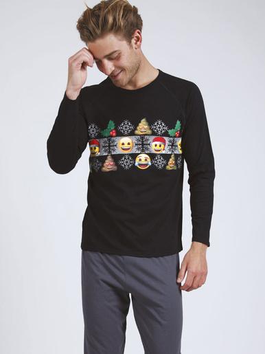 Pyjama long col rond homme Emoji